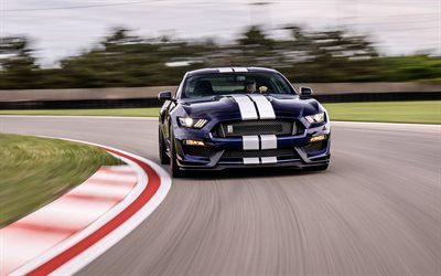 Ford Mustang Shelby GT350, 2019, front view, blue sports coupe, racing cars, new blue Mustang, tuning, racing track, American sports cars, Ford