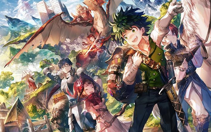 Download Wallpapers Tenya Iida Izuku Midoriya Ochaco
