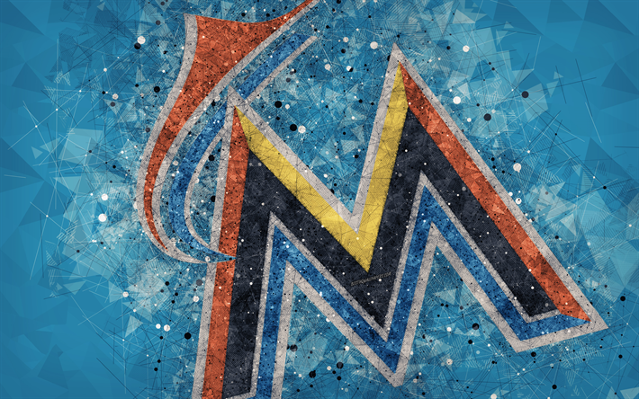 Miami Marlins 4k American Baseball Club Geometric Art Blue Abstract Background