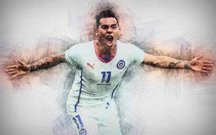 Download Wallpapers 4k, Eduardo Vargas, Chilean Football
