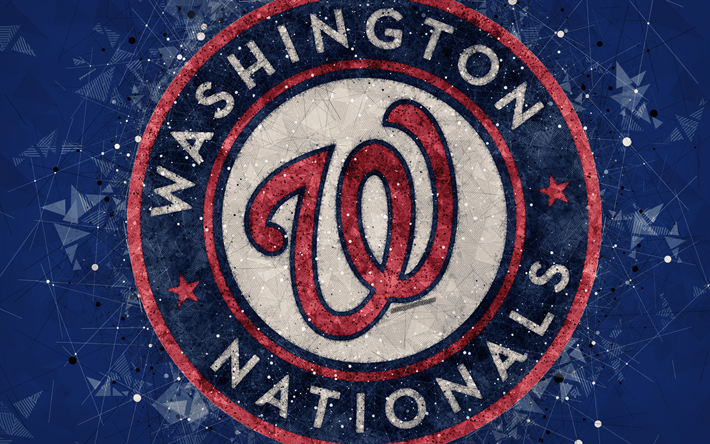 Download Wallpapers Washington Nationals 4k American Baseball Club Geometric Art Blue Abstract Background National League Mlb Washington Usa Baseball Major League Baseball For Desktop Free Pictures For Desktop Free