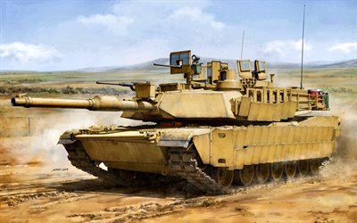M1 Abrams, M1A2, US main battle tank, desert, US Army, modern tanks, USA, M1A2 SEP