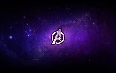 Avengers logo, 2019, Avengers Endgame, purple background, promotional materials, logo