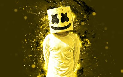 4k, DJ Marshmello, yellow neon lights, superstars, Christopher Comstock, artwork, american DJ, fan art, Marshmello 4K, yellow background, music stars, creative, Marshmello, DJs