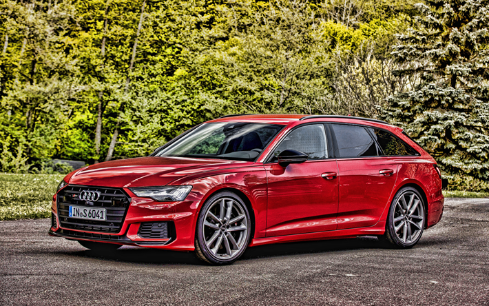 Audi A6 Avant, 4k, HDR, 2019 coches, tuning, red A6 Avant, vagones, 2019 Audi A6 Avant, los coches alemanes, el Audi