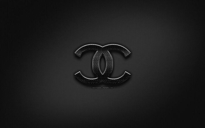Scarica Sfondi Chanel Logo Nero Creativo Griglia Di Metallo