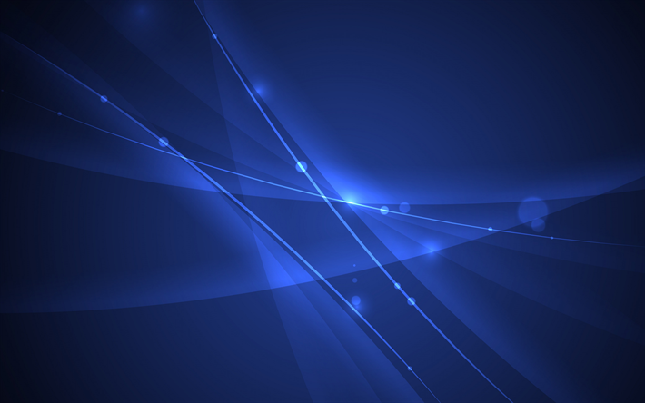 Download Wallpapers Blue Neon Background Blue Waves