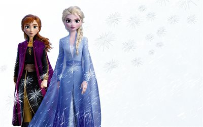 Frozen 2, 2019, promotional materials, 4k, elsa, anna, main characters