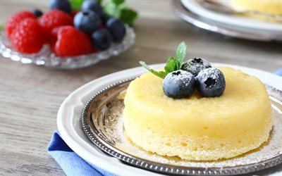 dessert with blueberries, souffles, berries, sweets, dessert