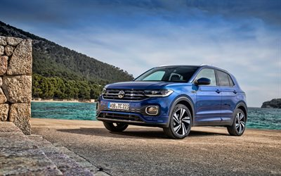 4k, Volkswagen T-Cross, parking, 2019 cars, crossovers, blue T-Cross, 2019 Volkswagen T-Cross, german cars, Volkswagen
