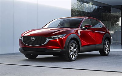 2020, Mazda CX-30, 4k, front view, exterior, red crossover, new red CX-30, Japanese cars, Mazda