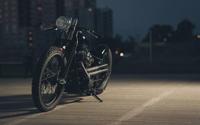 cool black motorcycle, bobber, custom motorcycles, unique motorcycles