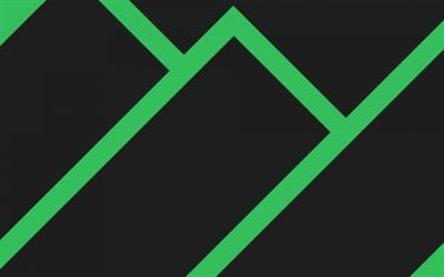 Manjaro Linux, Manjaro gray background with green lines, abstraction, minimalism, green lines background, Linux stock wallpaper, Linux