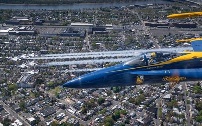 Blue Angels, McDonnell Douglas FA-18 Hornet, flight demonstration squadron, United States Navy, FA-18, aerobatic team, american fighter