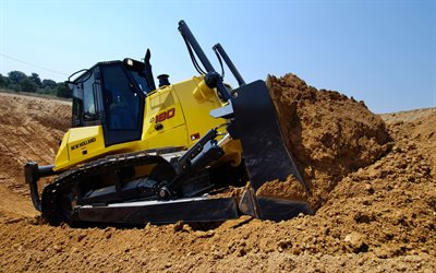 New Holland D180, bulldozer, sand quarry, construction machines, special equipment, New Holland