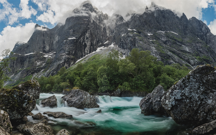 Download wallpapers Mountain river, rocks, mountains