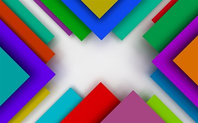 colorful triangles, 4k, material design, geometric shapes, lollipop, lines, creative, colorful backgrounds, abstract art