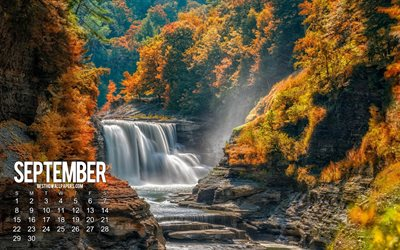 September 2019 calendar, autumn landscape, waterfall, calendar for September 2019, yellow trees, autumn