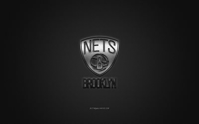 Brooklyn Nets, American basketball club, NBA, gray logo, gray carbon fiber background, basketball, Brooklyn, New York, USA, National Basketball Association, Brooklyn Nets logo