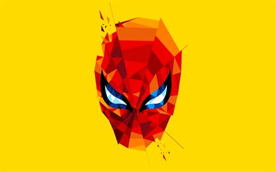 4k, Spiderman mask, minimal, Spider-Man, adventure, superheroes, Spiderman, yellow backgrounds, Spiderman 4K