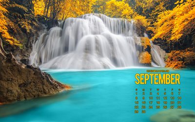 September 2019 Calendar, waterfall, lake, autumn, Thailand, Calendar for September 2019, autumn landscape, 2019 calendars