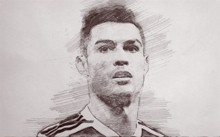Download Wallpapers Cristiano Ronaldo Cr7 Portrait Pencil Drawing Painted Portrait Portuguese Football Player Juventus Fc Football Star Football For Desktop Free Pictures For Desktop Free