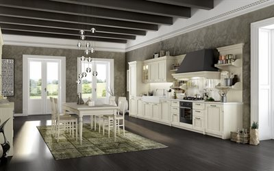 stylish interior, kitchen, classic style, modern interior design, kitchen in a country house, dining room