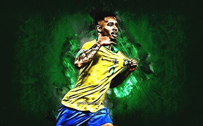 Gabriel Jesus, Brazil national football team, Brazilian footballer, portrait, green stone background, Brazil, football
