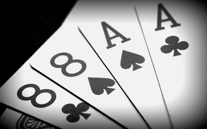 two eights two aces, poker, playing cards, card combination, black aces and black eights