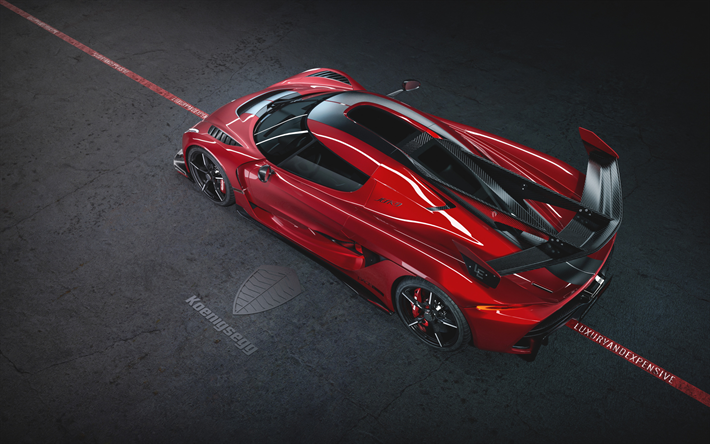 Koenigsegg Jesko, 2020, Jesko Cherry Red Edition10, view from above, red supercar, new red Jesko, tuning Jesko, Koenigsegg logo, luxury cars, Koenigsegg