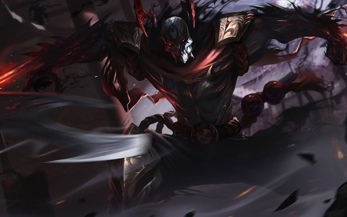 Zed, battle, MOBA, League of Legends characters, Zed with sword, warrior, darkness, monsters, League of Legends