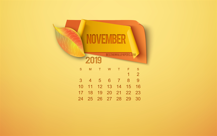 2019 November Calendar, yellow background, autumn leaves, autumn concepts, 2019 calendars, November, paper elements, November 2019 Calendar