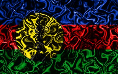 4k, Flag of New Caledonia, abstract smoke, Oceania, national symbols, New Caledonia flag, 3D art, New Caledonia 3D flag, creative, Oceanian countries, New Caledonia