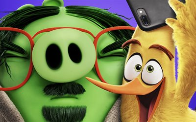 Leonard and Chuck, The Angry Birds Movie 2, 2019 movie, 3D-animation, Angry Birds 2, Leonard, Chuck