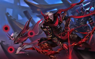 Syndra, Varus, Shen, battle, MOBA, League of Legends characters, warriors, darkness, monsters, League of Legends