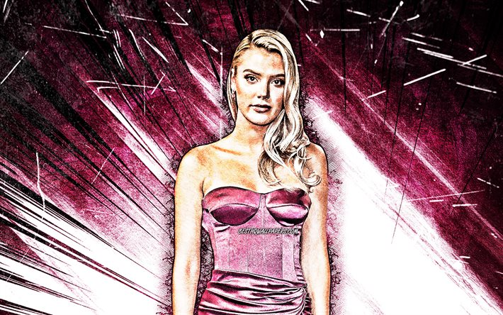 4k, Alissa Violet, grunge art, american singer, creative, music stars, purple abstract rays, american celebrity, Alissa Violet 4K
