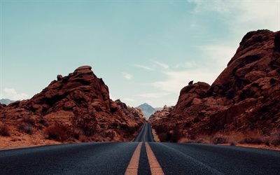 asphalt road, Arizona, evening, sunset, red rocks, road among the rocks, USA