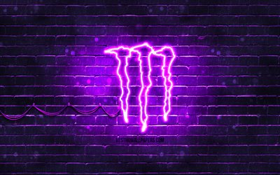 Monster Energy violet logo, 4k, violet brickwall, Monster Energy logo, drinks brands, Monster Energy neon logo, Monster Energy