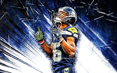 4k, Tyler Lockett, grunge art, Seattle Seahawks, american football, NFL, wide receiver, Russell Carrington Wilson, National Football League, blue abstract rays, Tyler Lockett Seattle Seahawks, Tyler Lockett 4K