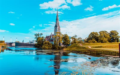Copenhagen, 4k, danish cities, summer, church, Denmark, Europe