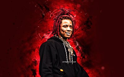 Trippie Redd, 2020, 4k, red neon lights, american rapper, music stars, creative, Michael Lamar White IV, american celebrity, Trippie Redd 4K