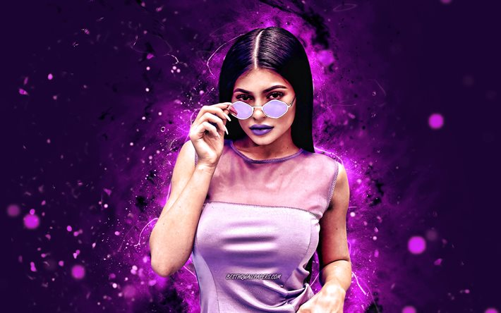 Kylie Jenner, violet neon lights, 4K, Hollywood, american celebrity, movie stars, Kylie Kristen Jenner, american actress, superstars, Kylie Jenner 4K