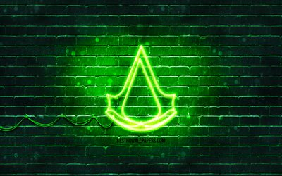 Assassins Creed green logo, 4k, green brickwall, Assassins Creed logo, 2020 games, Assassins Creed neon logo, Assassins Creed