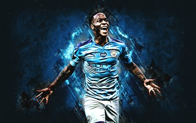 Raheem Sterling, Manchester City FC, English footballer, attacking midfielder, portrait, blue stone background, England, football