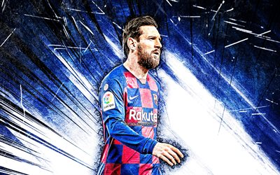 4k, Lionel Messi, blue abstract rays, Barcelona FC, La Liga, argentinian footballers, FCB, football stars, goal, Messi, Leo Messi, grunge art, Barca, soccer, LaLiga, Spain