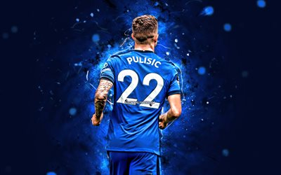 Christian Pulisic, back view, 2020, Chelsea FC, american footballers, 4k, soccer, England, Christian Mate Pulisic, Premier League, neon lights, Christian Pulisic 4K, Christian Pulisic Chelsea