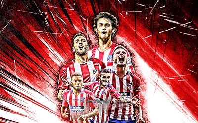 4k, Joao Felix, Saul Niguez, Marcos Llorente, Thomas Partey, Angel Correa, grunge art, Atletico Madrid FC, La Liga, football stars, LaLiga, Atletico Madrid team, red abstract rays, soccer, Atletico Madrid