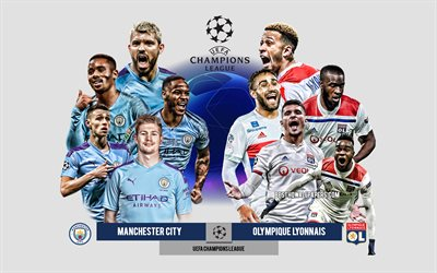 Manchester City vs Olympique Lyonnais, UEFA Champions League, Preview, promotional materials, football players, Champions League, football match, logos