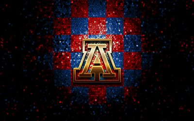 Arizona Wildcats, glitter logo, NCAA, blue red checkered background, USA, american football team, Arizona Wildcats logo, mosaic art, american football, America