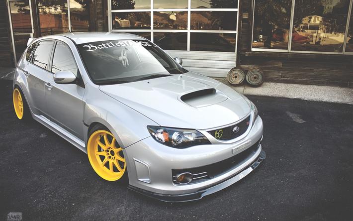 Subaru Impreza WRX STI, Tuning, Stance, JDM, Supercars, Yellow Wheels,